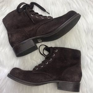 Sam Edelman brown suede lace up booties 7.5